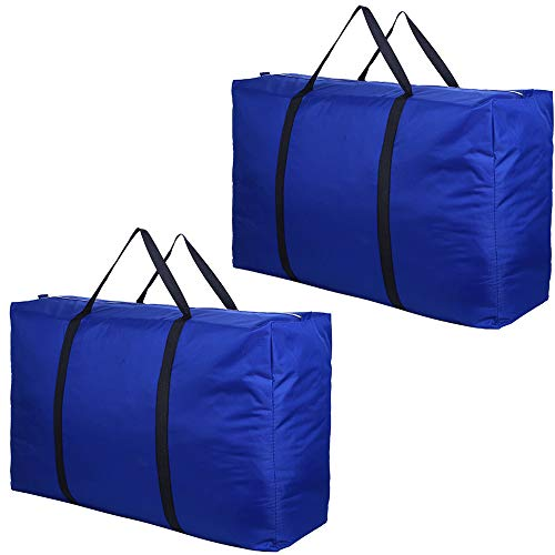Evealyn Large Moving bags, Extra Waterproof Moving Luggage Storage Bags Totes with Zippers Reusable Shopping Bag College Carrying Bag Home Storage Packing 2 Pack (Blue)