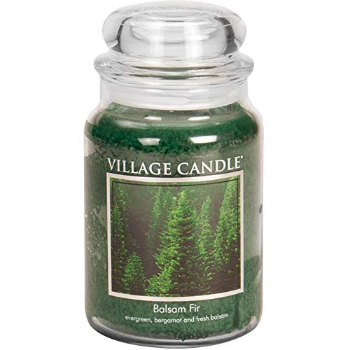 Village Candle Balsam Fir 26 oz Glass Jar Scented Candle, Large