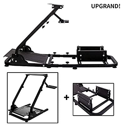 Minneer Racing Steering Wheel Stand Simulator Cockpit Height Adjustable Gaming Wheel Stand Compatible for T500, FANTEC, T3PA/TGT, G25, G37, G29/T300RS Wheel & Pedals Not Included?with Seat Frame?