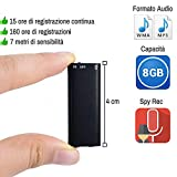 Micro Mini Registratore Spia Vocale Audio Spia 8 GB USB Spy Voice Recorder