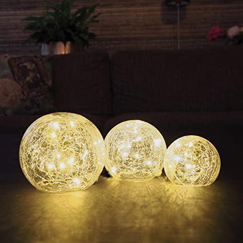 Gadgy Set 3 Lampada Sfera | Centro Tavola | Palla Luminosa di Cristallo | Globi dal Diametro 8, 10 e 12 cm. | Lampade Decorative da Tavolo | Sfere Natalizie | A Batteria | Fata Sfera