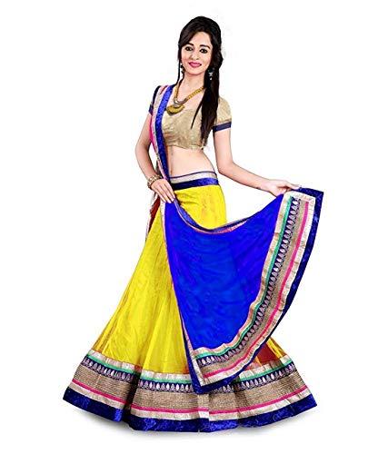 DARSHANA Women`s Net Semi-stitched Lehenga choli ( yellow, Free Size)