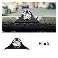 車の時計の装飾ルミナス電子メーター時計ノンスリップマットタイムオートインテリアオーナメント蛍光ウォッチアクセサリーギフト (Color : Black)