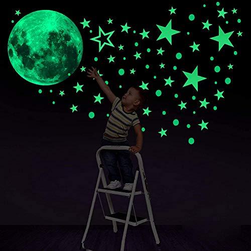 BOSSTER Stelle Luminose e Luna Fluorescente Adesivi Murali 435 Pezzi Stelle Adesive Fluorescenti per Decorazioni a Parete cameretta Bambini Fosforescenti