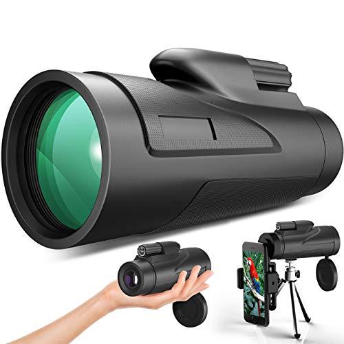 Gafild Monocular, 12 x 50 HD Monocular Impermeable monoculo telescopio portatil para Viajes de Caza, Juego de Pelota, Concierto con Adaptador de Soporte para Smartphone y trípode