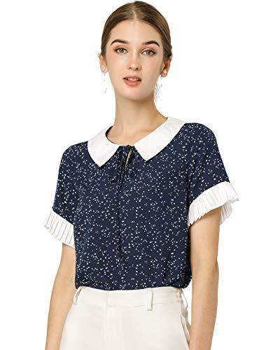 Allegra K Blusa De Lunares Collar De Muñeca En Contraste Manga Corta Top para Mujeres Azul Marino M