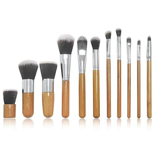 11 Poignée De Bambou Brosse De Maquillage Ensemble Fond De Fond De Fond De Peau De Brosse Sac Beauté Sac De Maquillage