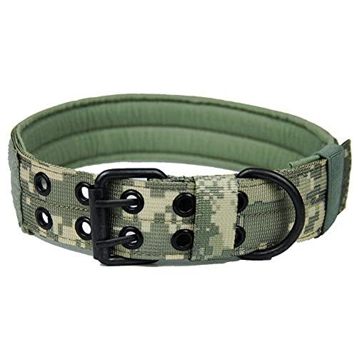 FEimaX Collar De Perro Táctico Collar De Perro De Nylon Antidesgaste De Entrenamiento Ajustable Militar con Doble Hebilla De Anillo En D De Metal para Perros Pequeños Medianos y Grandes (ACU, XL)