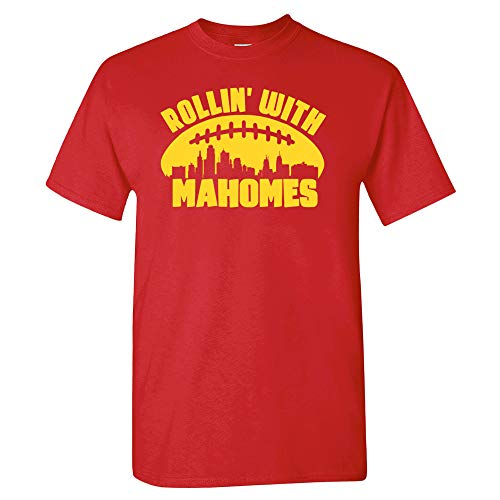 Xtreme Apparrel Rollin with Mahomes Kansas City Skyline Shirt (L) Red