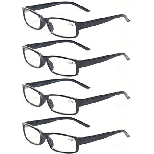 Reading Glasses 4 pair Quality Fashion Readers Spring Hinge Glasses for Men and Women (4 Pack Black, 1.5)