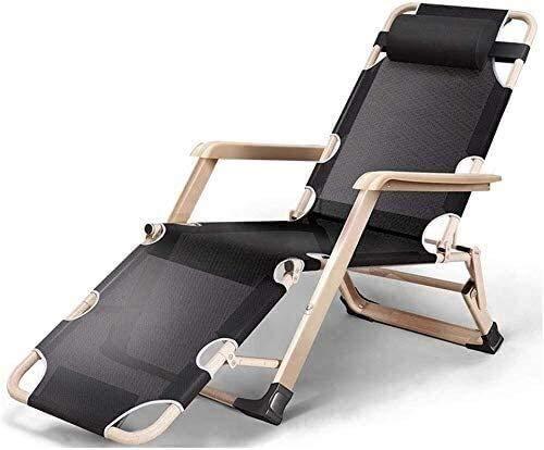 Sillas plegables al aire libre, silla inclinada, portátil, tumbona de gravedad cero, sillas de jardín para patio 178 67 30 cm (color negro)