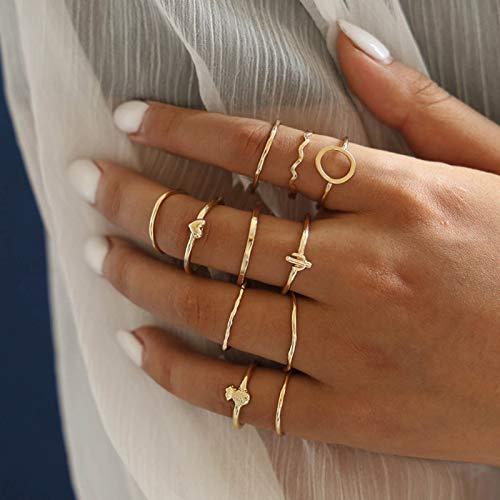 Mayelia Juego de anillos bohemios de oro con diseño de piña y nudillos para mujeres y niñas (paquete de 11)