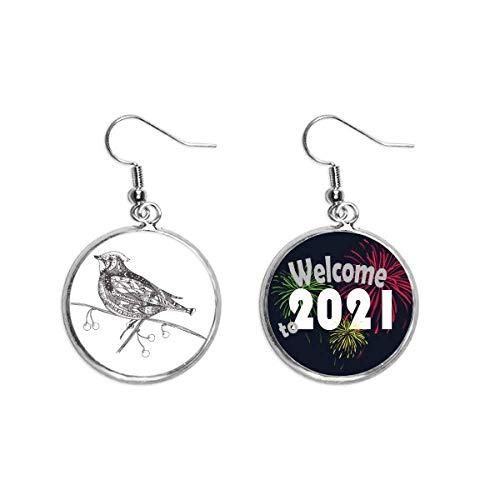 Bird Paint Flying Line Small Ear Pendants Earring Jewelry 2021 Blessing