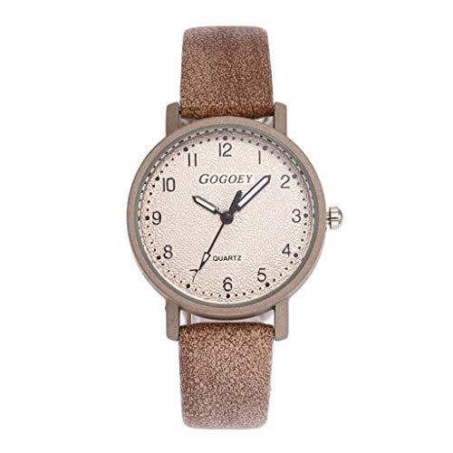 HBR Reloj Simple Reloj de señoras de la Manera del Reloj de señoras de la Pulsera de Cuero del Rhinestone del Reloj de Cuarzo del Reloj análogo de Hembra Accesorios de Moda (Color : Camel)