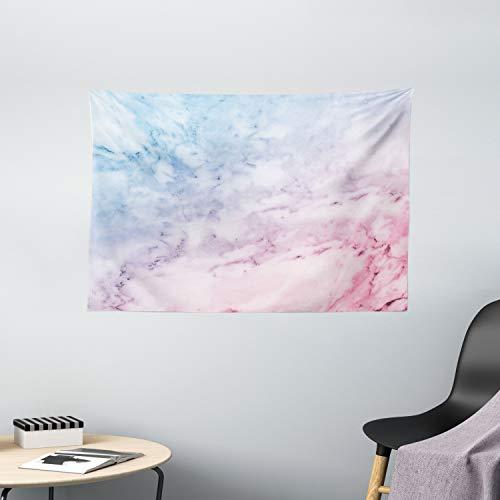 ABAKUHAUS Marmor Wandteppich, Pastell bewölkt Antike, Wohnzimmer Schlafzimmer Wandtuch Seidiges Satin Wandteppich, 150 x 100 cm, Pale Blue Baby Pink