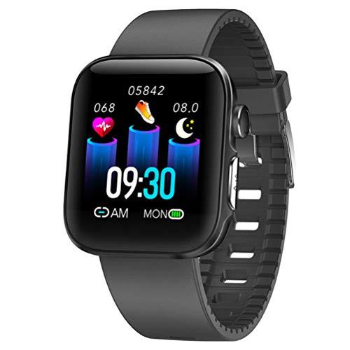 GKJ Smartwatch Reloj Inteligente Impermeable IP68 para Hombre Mujer Niños, Pulsera De Actividad Inteligente con Monitor De Sueño Contador De Caloría Pulsómetros Podómetro,Negro