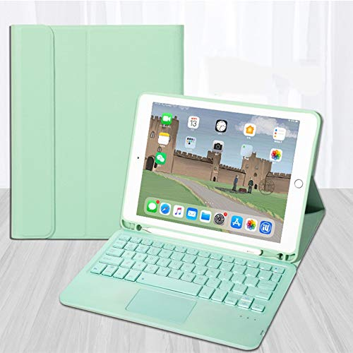 Touchpad Keyboard Case for iPad 6/5 Case, Detachable Wireless Keyboard Case with Pencil Holder, iPad 9.7inch Magnetic Ultra Slim Bluetooth Magic Keyboard Case (iPad 6/5 9.7, Mint Green)