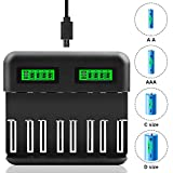 LCD Display Universal Battery Charger,8 Bay Smart Charger for...
