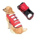 SILD Chaleco Salvavidas Ajustable para Perros Salvavidas de Seguridad Chaleco Reflectante para Mascotas Perro Salvavidas Chaleco Abrigo para natación Surf Caza (Rojo, X-Large)