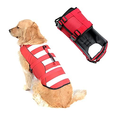SILD Chaleco Salvavidas Ajustable para Perros Salvavidas de Seguridad Chaleco Reflectante para Mascotas Perro Salvavidas Chaleco Abrigo para natación Surf Caza (Rojo, Large)