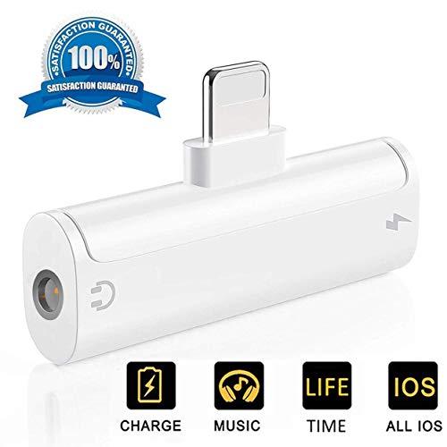 Adaptador de Conector de Auriculares para iPhone 7 Audio Splitter Adaptador de Conector Cable 3.5 mm Adaptador de Auriculares para iPhone XS/XR/X/8/8 Plus /7/7 Plus para Todos los Modelos de iOS