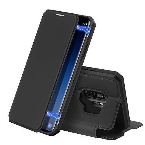 DUX DUCIS Hülle für Samsung Galaxy S9, Premium Leder Magnetic Closure Flip Schutzhülle handyhülle für Samsung Galaxy S9 Tasche (Schwarz)