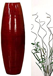 Green Floral Crafts | 27'' Bamboo Cylinder Floor Vase | Mahogany Red