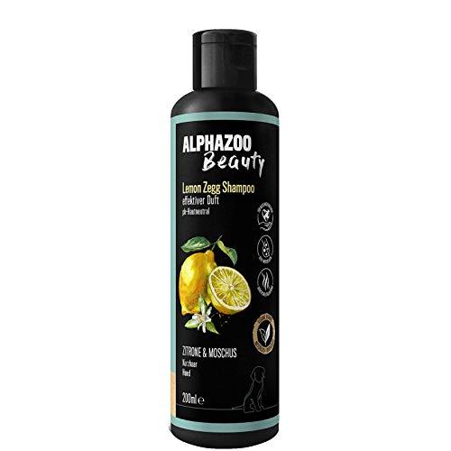 alphazoo Lemon Zegg Hundeshampoo 200ml | Fellpflege gegen Gerüche mit Zitrone, Moschus und Kokos | biologisch & vegan, pH-neutral, ohne Parabene & Silikone | natürliches Shampoo für Hunde