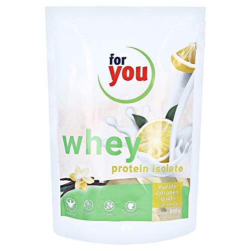 for you whey protein isolate mit einem Eiweißanteil von 97,5% I angereichert mit 10 Vitalstoffen I 28 Portionen 840g Proteinpulver Muskelaufbau Whey Protein Eiweißpulver Vanille-Zitronenquark