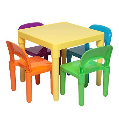 Diaod Set de Mesa y Silla de plástico para niños 1 Escritorio y Cuatro sillas Conjuntos de Muebles para niños Silla y Estudio Estudio Juegos de Cena