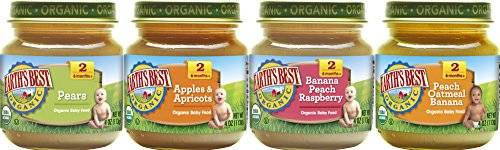 Image of the Earth's Best Organic Stage 2 Baby Food, Favorite Fruits Variety Pack, 4 oz. Jar (12 Count)