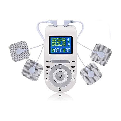 HUIXINLIANG Dual Canal TENS EMS Unidad de estimulador Muscular con 12 Modos, para Alivio del Dolor Potente masajeador de Pulso electrónico con 4 Almohadillas