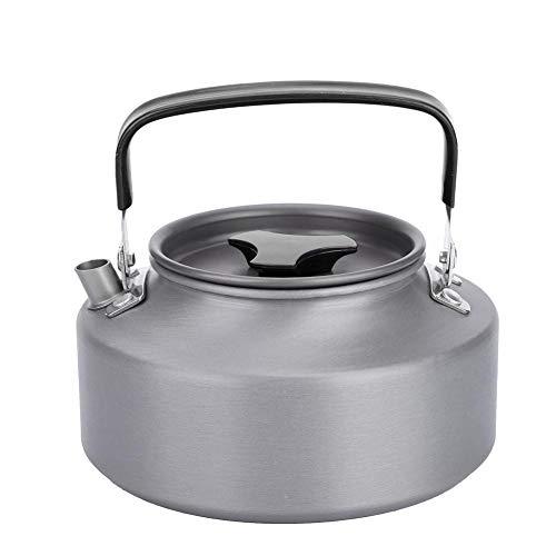 Fdit Tragbare 1,1 l Aluminium Teekanne Kaffee Teekanne Wasserkocher für Camping Wandern Küche Schwarz