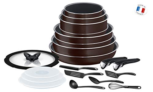 Tefal L2389002 Ingenio Essential Batterie De Cuisine Set De 20 pièces Black Coffee Pailleté Tous Feux sauf Induction