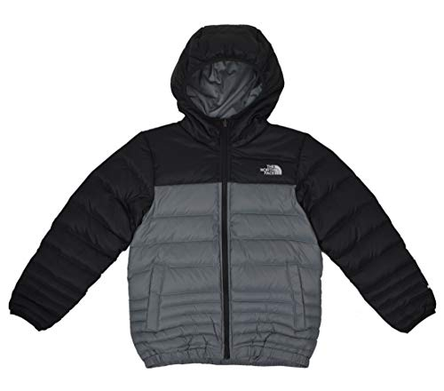 The North Face Boys Reese Reversible Hooded Down Jacket, Mid Grey Black