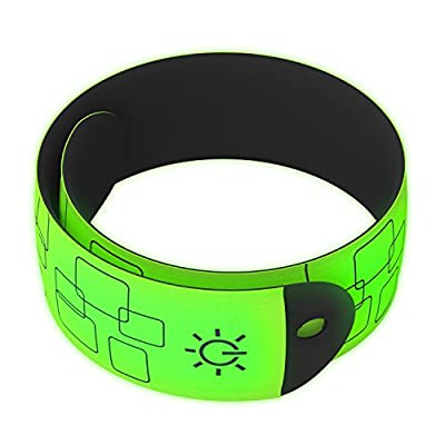 AUSQI LED Armband | Glow in The Dark Wrist Wrap for Runners, Walking, Biking, Hiking & More | Best Running Safety Reflective Gear for Visibility | Fluorescent Green (2 Pack)