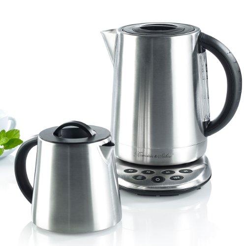 Rosenstein & Söhne Teemaschine: 2in1-Edelstahl-Wasserkocher WSK-250.set & Teekanne (Wasserkocher Teekocher)