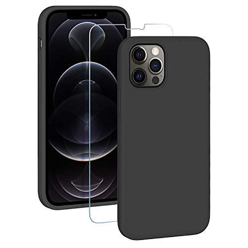 EasyAcc Hülle Silikon Hülle Kompatibel mit iPhone 12 & iPhone 12 Pro 2020, Weich Handyhülle Cover, Schwarz