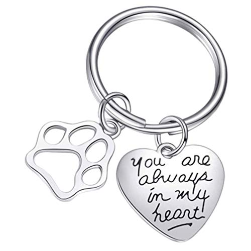 TOYANDONA Chaveiro You Are Always in My Heart com pata de cachorro, presente memorial para donos de cães e gatos