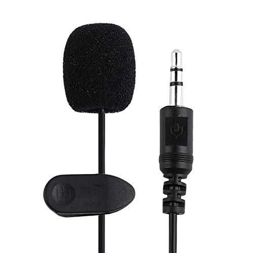 CALISTOUK Mini Micrófono de Solapa 3.5mm, Manos Libres en Mini Micrófono de Solapa con Adaptador para Smartphones, PC y Line-in grabadora, Color Negro