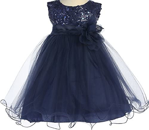 Sequin Glitter Round Neck Tulle Overlaid Baby Little Flower Girls Dresses 30K5D Navy S product image