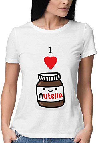 Sartamke I Love Nutella Chocolate Round Neck Damen Tshirt XX-Large