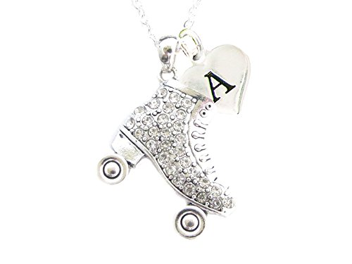 Custom Crystal Roller Skate Silver Chain Necklace Jewelry Choose Initial Charm