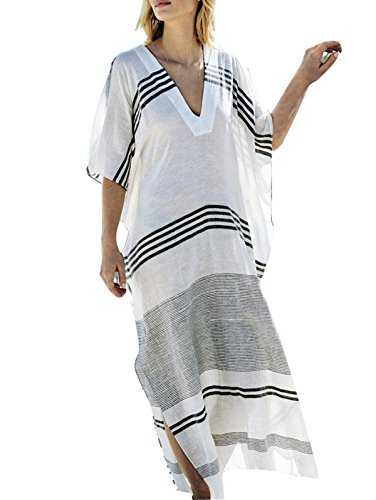 Asskdan Damen Strandkeid Sommer Lang Gestreift Boho Maxikleid Bikini Cover Up - One Size (Weiße Breit Gestreift, One Size)