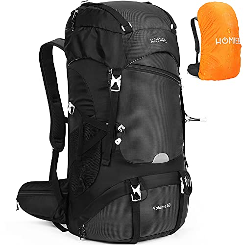 HOMIEE 50L Hiking Backpack with Rain Cover...