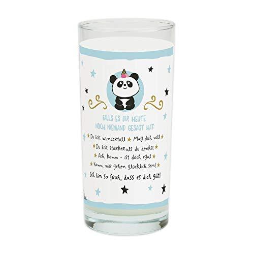 Die Geschenkewelt Hope und Gloria 46250 Trinkglas mit Panda-Dekor und liebem Spruch, 50 cl Wasserglas Tasse, Porzellan