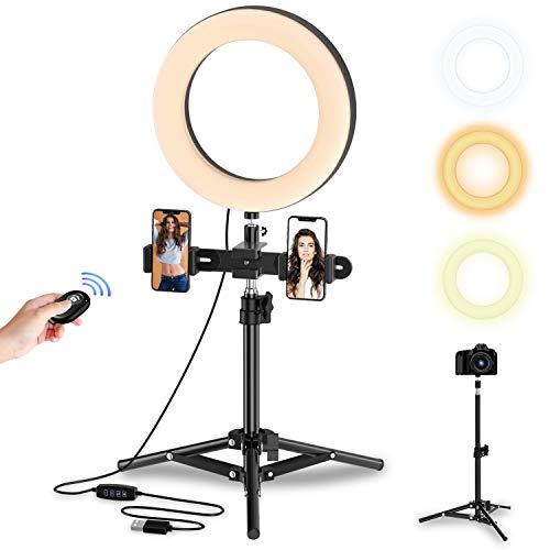 Selvim Anillo de Luz LED Fotografía, Aro de Luz de Escritorio con Trípode Alto y Extensible, 3 Modos 10 Brillos Regulables, 104 Bombillas, Control Remoto Bluetooth, para Selfie, Maquillaje, TIK Tok