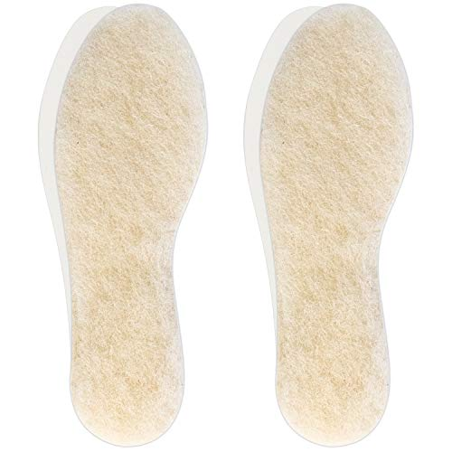 Hey Nature 2 Paar Lammwoll Winter Einlegesohlen, dicke Schafwolle Schuheinlagen wärmen die Füße, natürliche Wärme Einlegesohlen effizienter als Thermo Pads. Wollsohle für Kinder zuschneidbar