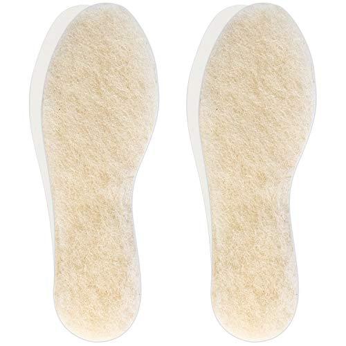 Hey Nature 2 pares plantillas termicas en lana de cordero, suelas para zapatos gruesas de invierno. Plantillas térmicas naturales más eficientes que plantillas calefactables. Plantillas recortables