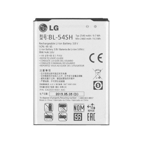 LG BL-54SH Ioni di Litio 2540mAh 3.8V batteria ricaricabile–Batterie ricaricabili (2540mAh, ioni di litio, 3,8V, Bianco)